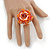 Orange/ White/ Lavender Glass Bead Flower Stretch Ring - 40mm D - view 2