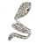 Clear Crystal Snake Ring In Rhodium Plated Metal - 45mm L - Size 7 - view 5