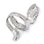 Clear Crystal Snake Ring In Rhodium Plated Metal - 45mm L - Size 7 - view 3