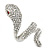 Clear Crystal Snake Ring In Rhodium Plated Metal - 45mm L - Size 7 - view 6