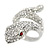 Clear Crystal Snake Ring In Rhodium Plated Metal - 45mm L - Size 7 - view 4