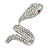 Clear Crystal Snake Ring In Rhodium Plated Metal - 45mm L - Size 7 - view 7