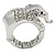 Rhodium Plated Clear Crystal Elephant Stretch Ring - Size 8/9
