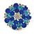 Rhodium Plated Sapphired Blue/ Clear/ Azure Diamante Cocktail Ring (Adjustable Size 7/8) - 30mm D - view 3
