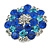 Rhodium Plated Sapphired Blue/ Clear/ Azure Diamante Cocktail Ring (Adjustable Size 7/8) - 30mm D - view 5