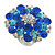 Rhodium Plated Sapphired Blue/ Clear/ Azure Diamante Cocktail Ring (Adjustable Size 7/8) - 30mm D