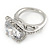 15mm Large Clear Cz Solitair Ring In Rhodium Plated Alloy - size 8 - view 7