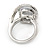 15mm Large Clear Cz Solitair Ring In Rhodium Plated Alloy - size 8 - view 8