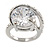 15mm Large Clear Cz Solitair Ring In Rhodium Plated Alloy - size 8 - view 4