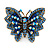 Large Blue Crystal Butterfly Ring In Gold Tone - Size 7/8 Adjustable