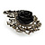 Oversized Black Rose Crystal Leaf Cocktail Ring In Aged Silver Tone - 60mm L - view 4