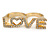 Gold Plated Double Finger Diamante 'Love' Ring - Size 7&8 - 45mm W - view 1