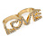 Gold Plated Double Finger Diamante 'Love' Ring - Size 7&8 - 45mm W - view 5