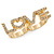 Gold Plated Double Finger Diamante 'Love' Ring - Size 7&8 - 45mm W - view 6