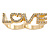 Gold Plated Double Finger Diamante 'Love' Ring - Size 7&8 - 45mm W - view 4