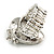 Vintage Inspired Clear Glass Teardrop with Rose Flex Ring In Silver Tone Metal - 7/8 Size - view 4
