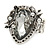 Vintage Inspired Clear Glass Teardrop with Rose Flex Ring In Silver Tone Metal - 7/8 Size - view 3