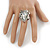 Vintage Inspired Clear Glass Teardrop with Rose Flex Ring In Silver Tone Metal - 7/8 Size - view 2