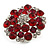 Silver Tone Dark Red/ Fuchsia/ Clear Diamante Cocktail Ring (Adjustable Size 7/8