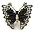 Large Clear Crystal, Black Acrylic Bead Butterfly Ring In Antique Gold Tone Metal - 55mm - Size 8