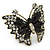 Large Clear Crystal, Black Acrylic Bead Butterfly Ring In Antique Gold Tone Metal - 55mm - Size 8 - view 6