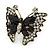 Large Clear Crystal, Black Acrylic Bead Butterfly Ring In Antique Gold Tone Metal - 55mm - Size 8 - view 5