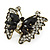 Large Clear Crystal, Black Acrylic Bead Butterfly Ring In Antique Gold Tone Metal - 55mm - Size 8 - view 7