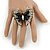 Large Clear Crystal, Black Acrylic Bead Butterfly Ring In Antique Gold Tone Metal - 55mm - Size 8 - view 2