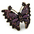Large Crystal, Acrylic Bead Butterfly Ring In Antique Gold Tone Metal (Purple) - 55mm - Size 8 - view 4
