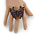 Large Crystal, Acrylic Bead Butterfly Ring In Antique Gold Tone Metal (Purple) - 55mm - Size 8 - view 2