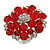 Silver Tone Red/ Clear Diamante Cocktail Ring (Adjustable Size 7/8)