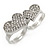 Silver Plated Double Finger Diamante Two Hearts Ring - Size 7&8 - Adjustable - view 3