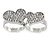 Silver Plated Double Finger Diamante Two Hearts Ring - Size 7&8 - Adjustable - view 5