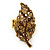 Large 'Autumn Dew' Citrine/ Amber Crystal Leaf Stretch Ring In Burnt Gold Tone - 58mm - Adjustable Size 7/8