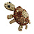 Large Amber/ Citrine/ Champagne Crystal Turtle Ring In Burn Gold Metal - 7/8 Size Adjustable - 55mm Length - view 7