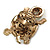 Large Amber/ Citrine/ Champagne Crystal Turtle Ring In Burn Gold Metal - 7/8 Size Adjustable - 55mm Length - view 3
