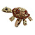 Large Amber/ Citrine/ Champagne Crystal Turtle Ring In Burn Gold Metal - 7/8 Size Adjustable - 55mm Length - view 5
