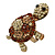 Large Amber/ Citrine/ Champagne Crystal Turtle Ring In Burn Gold Metal - 7/8 Size Adjustable - 55mm Length - view 8