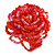 Carrot Red/ Pink Glass Bead Flower Stretch Ring - 40mm Diameter