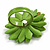 Lime Green Leather Daisy Flower Ring - 40mm D - Adjustable - view 3