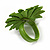 Lime Green Leather Daisy Flower Ring - 40mm D - Adjustable - view 4