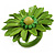Lime Green Leather Daisy Flower Ring - 40mm D - Adjustable - view 5