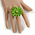 Lime Green Leather Daisy Flower Ring - 40mm D - Adjustable - view 2