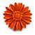 Bright Orange Leather Daisy Flower Ring - 40mm D - Adjustable