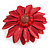 Red Leather Daisy Flower Ring - 40mm D - Adjustable