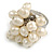 Cream Faux Freshwater Pearl Bead Cluster Ring in Silver Tone Metal - Adjustable 7/8 - view 4