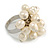 Cream Faux Freshwater Pearl Bead Cluster Ring in Silver Tone Metal - Adjustable 7/8 - view 5