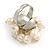 Cream Faux Freshwater Pearl Bead Cluster Ring in Silver Tone Metal - Adjustable 7/8 - view 6
