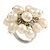 Cream Faux Freshwater Pearl Bead Cluster Ring in Silver Tone Metal - Adjustable 7/8 - view 3