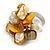 Antique Yellow Sea Shell Nugget and Cream Faux Freshwater Pearl Cluster Silver Tone Ring - 7/8 Size - Adjustable - view 4